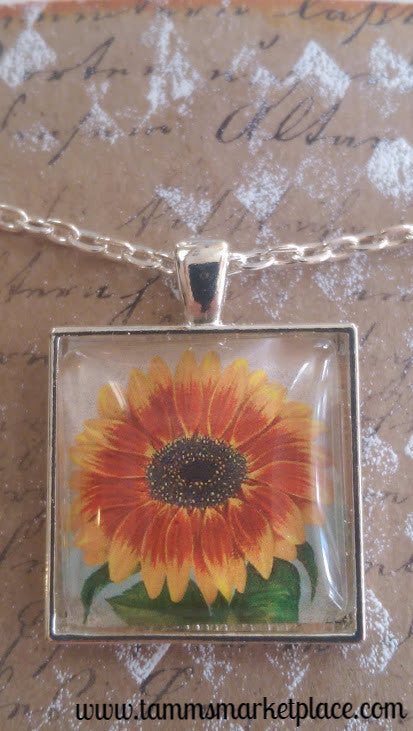 "Square 1"" Pendant Necklace with Yellow and Orange Sunflower MKN006"
