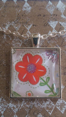 "Square 1"" Pendant Necklace with Red Petaled Flower and Glittery Center MKN007"