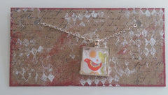 "Square 1"" Pendant Necklace with Red Bird MKN009"