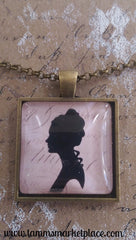 "Square 1"" Pendant Necklace with Lady Silhouette on Pink Background MKN010"