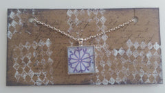 "Square 1"" Pendant Necklace with Purple Outlined Snowflake MKN011"