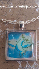 "Square 1"" Pendant Necklace with Dove on Blue Background MKN015"