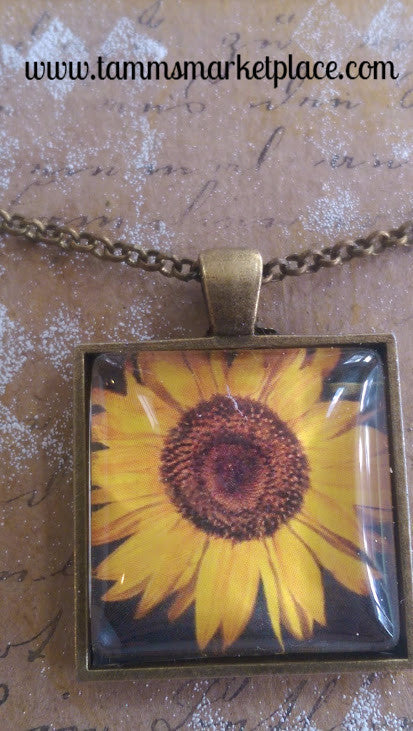 "Square 1"" Pendant Necklace with Yellow Sunflower on Dark Background MKN016"