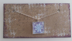 "Square 1"" Pendant Necklace with Purple Outlined Snowflake MKN017"