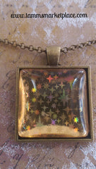 "Square 1"" Pendant Necklace with Yellow Metallic Design MKN018"