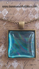"Square 1"" Pendant Necklace with Blue Metallic Design MKN019"