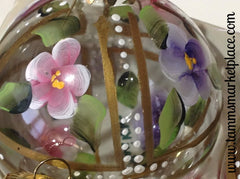 Round Glass Hand Painted Flower Ornament with Stand MKO001