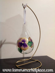 Teardrop Glass Hand Painted Flower Ornament with Stand MKO002A
