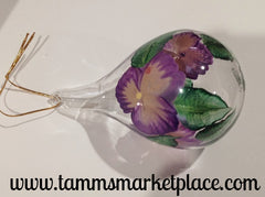 Teardrop Glass Hand Painted Flower Ornament with Stand MKO002