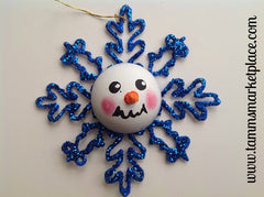 Snowman Face on Blue Glitter Snowflake Ornament MKO003