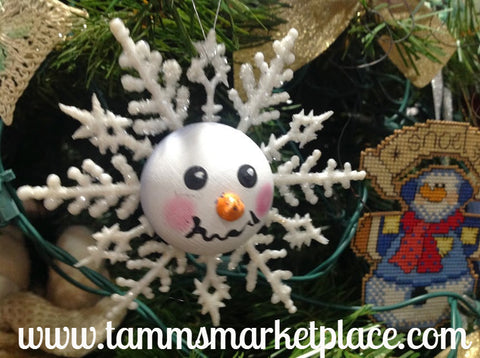 Snowman Face on White Glitter Snowflake Ornament MKO004
