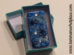 Blue Domino Pin with stamped flowers and jewels MKP001