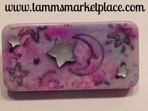 Pink Domino Pin with stamped moon and star jewels MKP002