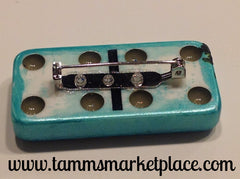 Teal Domino Pin with stamped flowers and jewels MKP003