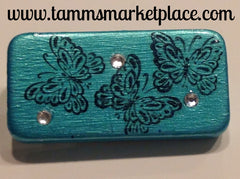 Teal Domino Pin with Butterflies and clear jewels MKP006