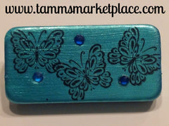 Teal Domino Pin with Butterflies and blue jewels MKP007