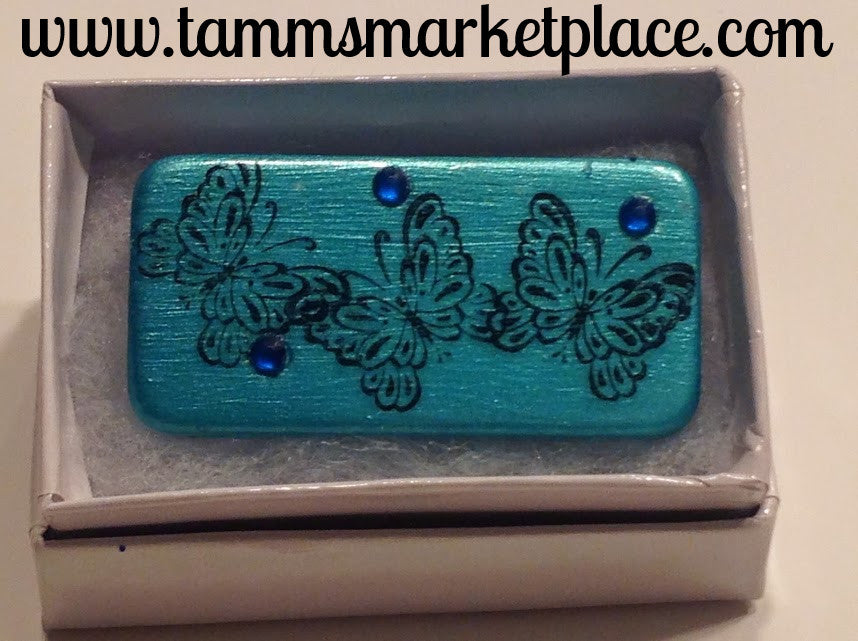 Teal Domino Pin with Butterflies and 3 blue jewels MKP008