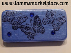 Blue Domino Pin with Butterflies and blue jewels MKP009