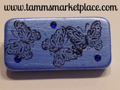 Blue Domino Pin with Butterflies and blue jewels MKP010