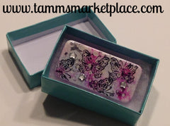 Snowy Pink Domino Pin with Butterflies and star jewels MKP012