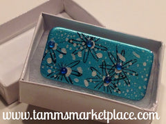 Snowy Teal Domino Pin with Flowers and blue jewels MKP015