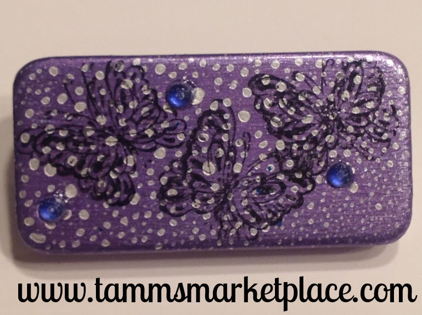 Snowy Purple Domino Pin with Butterflies and blue jewels MKP016