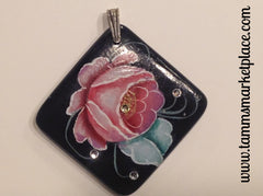 Square Hand Painted Rose with Jewels Pendant MKP019