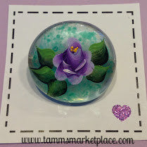 Round Glass Hand Painted Purple Rose Pendant MKP020