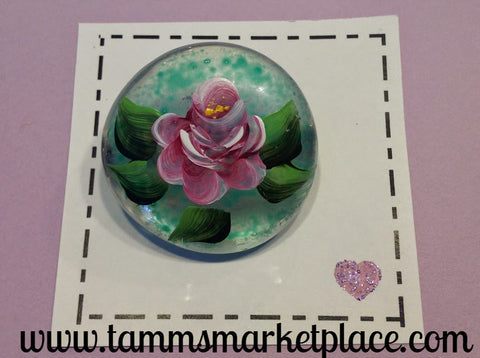 Round Glass Hand Painted Pink Rose Pendant MKP021