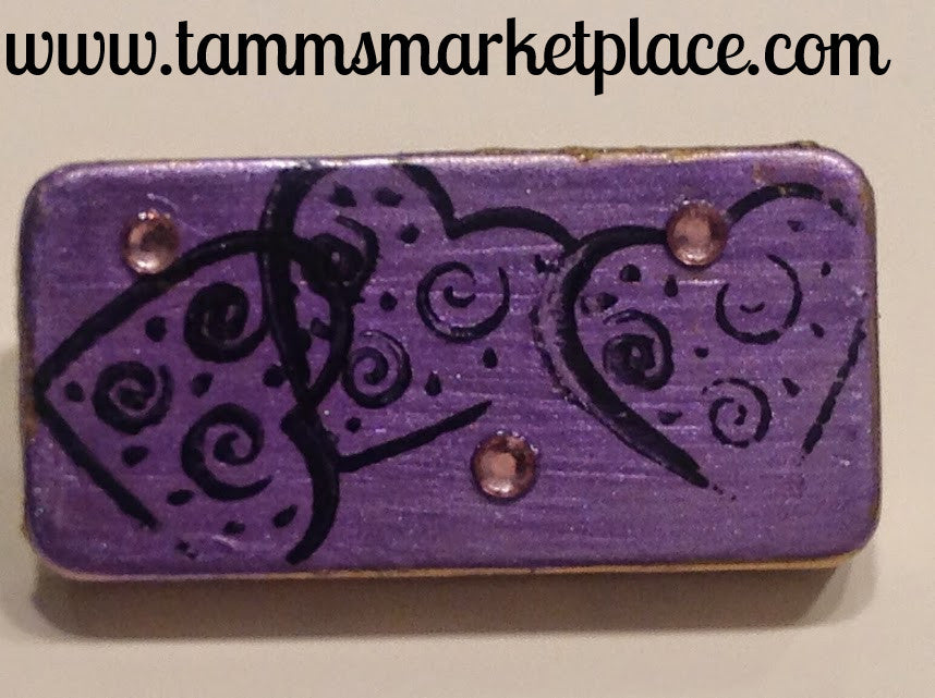 Purple Domino Pin with Hearts and Pink Jewels MKP035