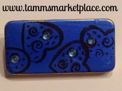 Blue Domino Pin with Hearts and Jewels MKP037