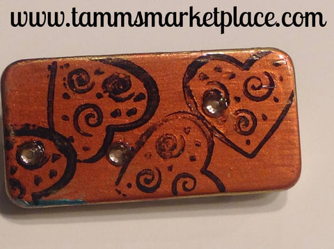 Orange Domino Pin with Hearts and Jewels MKP038