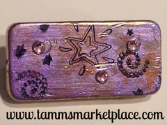 Metallic Lavendar Purple Domino Pin with Stars 'N Swirls and Jewels MKP040