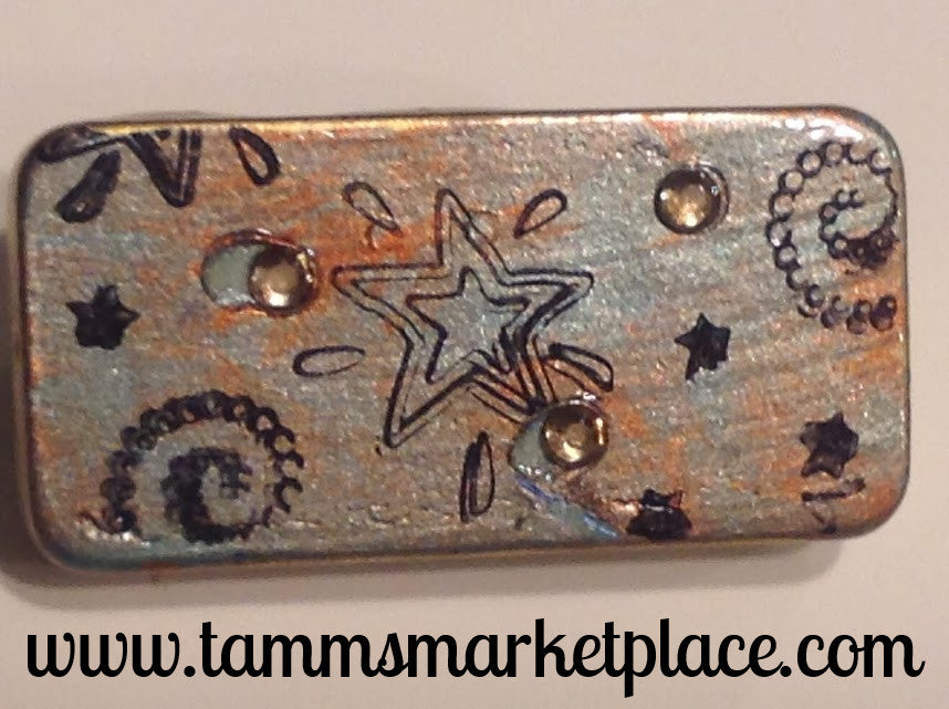 Metallic Sage Green and Orange Domino Pin with Stars 'N Swirls and Jewels MKP041