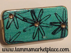 Metallic Teal Domino Pin with Flowers and Jewels MKP043