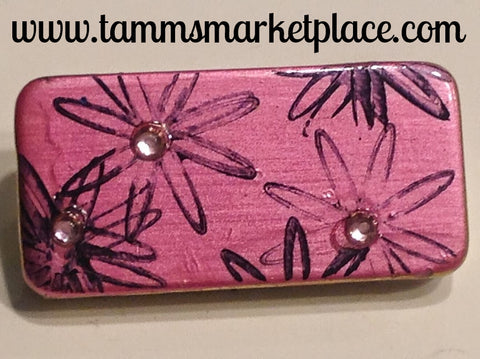 Metallic Pink Domino Pin with Flowers and Jewels MKP044