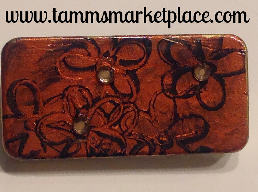 Metallic Orange Domino Pin with Flowers and Jewels MKP046