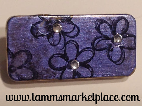 Metallic Purple Domino Pin with Flowers and Jewels MKP047