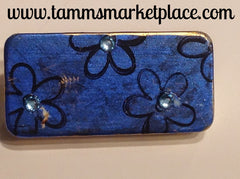 Metallic Blue Domino Pin with Flowers and Jewels MKP048