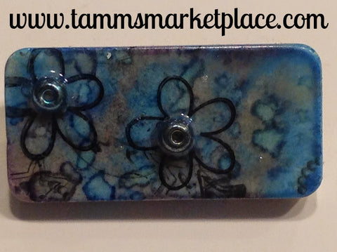 Metallic Blue Blotched Domino Pin with Flowers and Beads MKP050