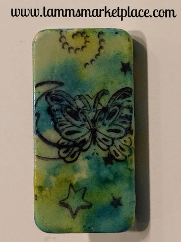 Butterfly Domino Pin with Blotches of Blues and Greens MKP052