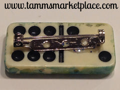 Star Stamped Domino Pin with blue and green wash background MKP054