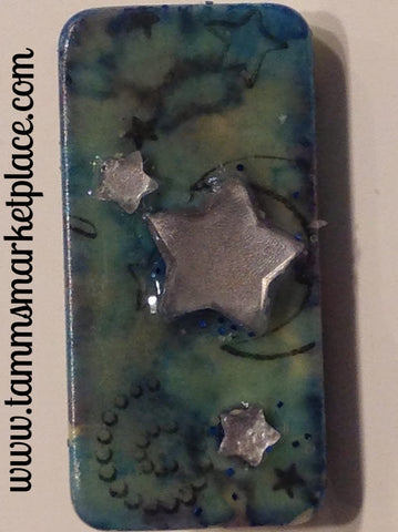 Moon and Star Stamped Domino Pin with blue & green wash background with Star Jewels MKP056