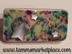Star Jeweled Domino Pin withpink, blue & green wash background MKP057