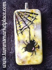 Spider with Web Halloween Domino Pin  MKP059