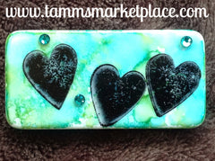 Heart Stamped & Jeweled Domino Pin with alcohol ink background MKP060