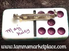 Sprig Stamped & Jeweled Domino Pin with inked background MKP065