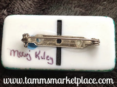 Simple Sprig Stamped & Jeweled Domino Pin with inked background MKP069