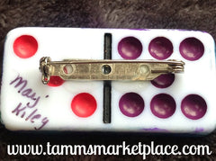 Copy of Ivy Sprig Stamped & Jeweled Domino Pin with alcohol ink background MKP071