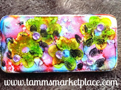 Leafy Sprig Stamped & Jeweled Domino Pin with alcohol ink background MKP072